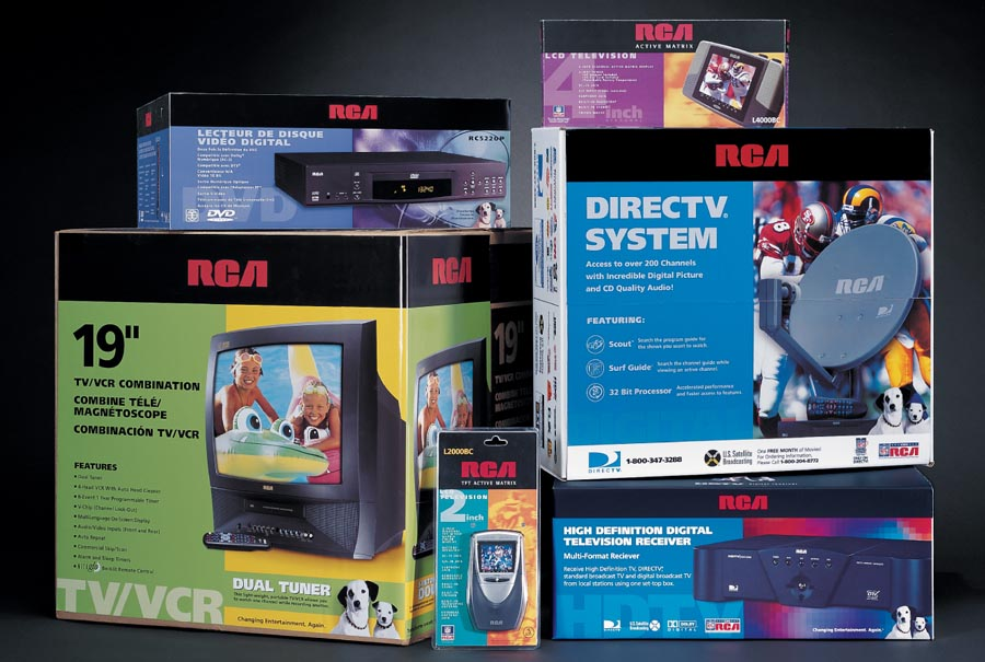 packaging designer examples for RCA brand that feature large areas of spot color inks