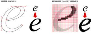 Comparison of letter e created with vector lines vs. raster artwork